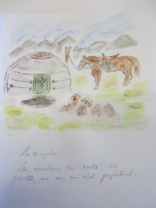 La Mongolie. Les couleurs des toits des yourts, un arc en ciel perpétuel.